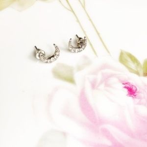 CRESCENT MOON PAVE STATEMENT STUD EARRINGS GOLD